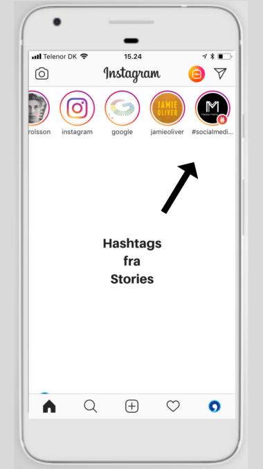 Instagram Stories og hashtags