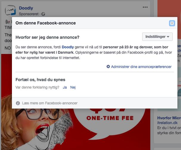 hvorfor man er i målgruppen for en reklame på Facebook